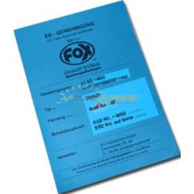 Duplicata certificat d'homologation FOX