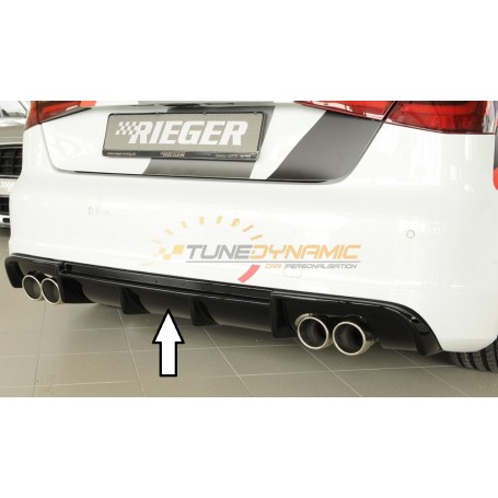 Rieger shiny black rear bumper diffuser for Audi A3 type 8V S-LINE