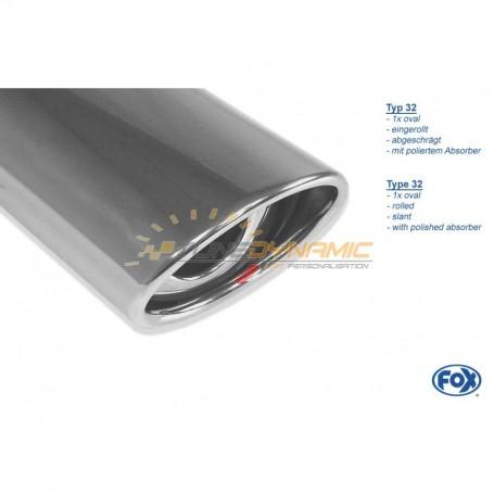Silencieux arrière inox 1x115x85mm type 33 pour CITROËN ZX