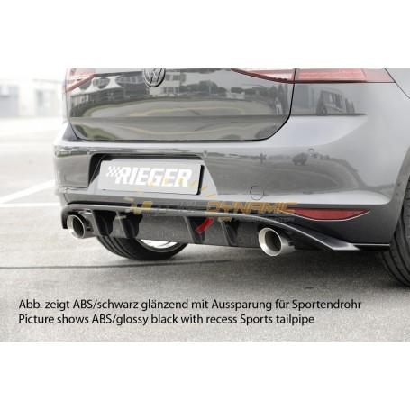 Diffuseur de pare-chocs arrière noir brillant Rieger pour Volkswagen Golf 7 GTI