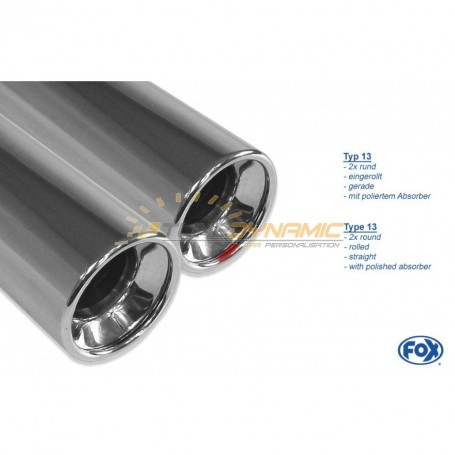Silencieux arrière inox 2x76mm type 13 pour OPEL ASTRA H / ASTRA H GTC TURBO