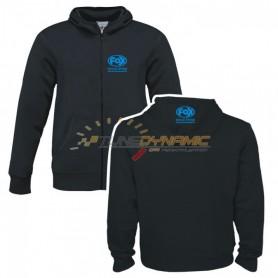 Veste à capuche FOX de couleur noire avec logo bleu