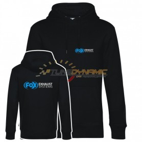 Sweat à capuche FOX de couleur noire avec logo bleu/blanc