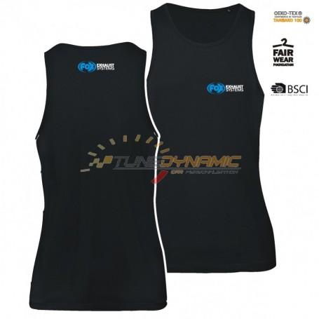 Black FOX sleeveless T-shirt with blue/white logo