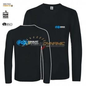 T-Shirt à manches longues FOX de couleur noire avec logo bleu/blanc